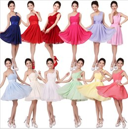 Wholesale Wholesale One Shoulder Chiffon Dress - Burgundy Purple Red Bridesmaid Dress Short One Shoulder Chiffon Formal Evening Wedding Party Dresses Gown Puls Size