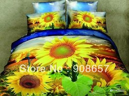 Wholesale Sunflower Queen Comforter - 500TC yellow sunflower printed comforter girl's bedding queen full duvet quilt covers cotton bedclothes bed sets woven bedspread