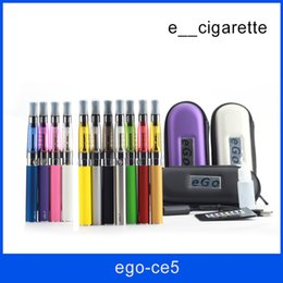 Wholesale Ego Cigarette Wick Kits - Ego starter kit CE5 no wick atomizer Vapor tank vapor ecig cigarette Electronic cigarette EGO-T Zipper case Clearomizer ecig starter kit