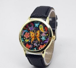Wholesale Cheap Chronograph Watches Women - Newest Geneva Art Butterfly Design Watches Women Flower watch Cheap leather Wristwatch 2016 Wholesale ladies dress quartz wrist watches