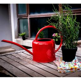 Wholesale Tin Watering Pot - Wholesale-Creative Handmade Retro Vintage Nostalgia Garden metal iron Watering Can Slender mouth planter Flowers Keg Favor Tin Pot Tanks
