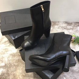 Wholesale Red Thick Heels Boots - Top quality Luxury Shoes New Genuine Leather Round Toe Women Boots Thick Heel 10.5cm Ankle Boots Shoes Women D9