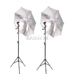 комплект подставки для софтбокса Скидка Wholesale- 2pcs 83CM Reflective Umbrella Photo Studio+2PCS 2M Light stand+2pcs single lamp holder Photography Softbox Light Kit