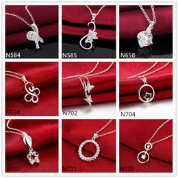 Wholesale Crystal Snake Rings - Butterfly round ring 925 silver Necklace(with chain) 10 pieces a lot mixed style, women's gemstone sterling silver Pendant Necklace EMP5
