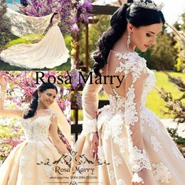 Abiti da sposa a maniche lunghe di Champagne Paese 2019 Una linea Illusion Vintage Lace 3D Floral Plus Size Arabo Dubai Kaftan Modest Abiti da sposa da