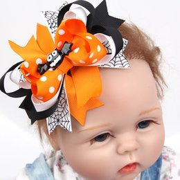 Wholesale Halloween Hair Bow Ribbon - New Girls Halloween Hair Clips Baby 4.5 Inch Ribbon Bows with Clips Childrens Hair Accessories Baby Boutique Bow Barrette