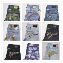 Wholesale Jeans Pant Style Boys - winter Men's Robin pants Rock Revival Jeans Street Style Boy Jeans Robin Cowboy Pants vintage Pockets painted Wings Washed Men's Jeans