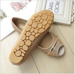 Wholesale Big Bottom Sandals - Flat comfortable soft bottom fish mouth sandals women fashion joker Non-slip peep-toe shoes big yards for women's shoes 41-43