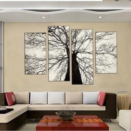 tatuaggi dipinti Sconti 4 Combinazione di quadri dipinti moderni famosi in bianco e nero Winter Tree Oil Painting Spray Pain Art Home decorazione della parete