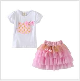 Wholesale Girls Cartoon Kt Clothing - 2016 Girls Cartoon KT Cat Clothing Sets Children Short Sleeve T-shirt With Bowtie+Lace Gauze Tutu Skirt 2pcs Set Kids Suits Girl Outfits