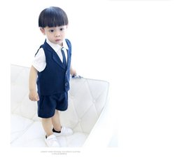 Wholesale Little Boys Image - Cute little boy fashion dress shorts in summer dress high quality custom simple male flower children's wear two grain of buttons (vest + pan