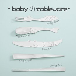 Wholesale Kids Icing Kit - Baby Utensil Children's Tableware Safety Care Training Stainless Steel Spoon Fork Kids Flatware Feeding Ice Cream Spoon