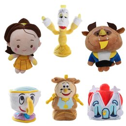 Wholesale Movie Cups - Beauty and the Beast Princess Belle and the beast Plush Doll Cartoon Clock Candle Cup Stuffed Toys Beauty Beast Plush Toys Christmas Gifts