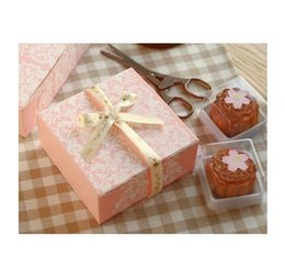 Wholesale Pink Cake Box Cupcakes - 2017 new sale Pink 4 grid cupcake muffin box kraft paper cake box wedding party favor