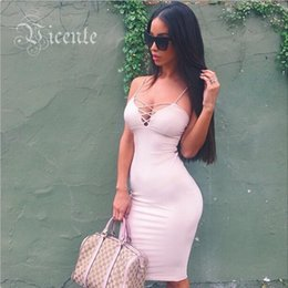 Wholesale Clearance Bustiers - Mid-Year Clearance!!! 2016 Fashion Deep Vneck Criss Cross Straps Mi Amore Celebrity Club Party Bustier Bodycon Dress VJ028