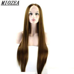 Wholesale wig long straight hair 34 - Hair Natural Straight Wigs Synthetic Lace Front Wig High Temperature Fiber Brown Color 12-30inch Long