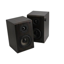Wholesale Rotary Speaker - Wholesale- LONPOO Bluetooth Bookshelf Speaker 2-Way 75W Classic Wooden Loudspeaker with 4-Inch rotary knob Woofer and Silk Dome Tweeter
