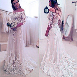 Wholesale Red Flower Chinese - 2017 Country Full Lace Wedding Dresses Off Shoulder 1 2 Long Sleeve Sweep Train Bridal Gowns With Lace Applique Chinese Wedding Gowns