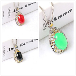 Wholesale Emerald Cut Ruby - Elegant Ruby Emerald MODE Water Drop Design Pear cut Top Quality AAA+ Cubic Zircon Pendant Necklace
