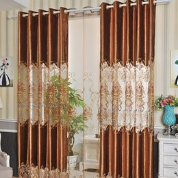 Wholesale Modern Curtains Designs - 2.8M Width Velvet Curtains Water Dissolving Lace Curtains Hollow Fashion Design Drapes Modern Curtain Room Decoration Whole Cloth & Gauze