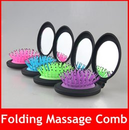 Wholesale Travel Comb Mirror - Comb Hair Brush WIth Mirror Portable Mini Hair Brush Round Massage Folding Comb With Mirror New lady Travel Hair brush hot selling free ship