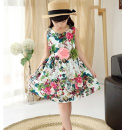 Wholesale Sundresses For Kids - Kids clothing summer dresses for girls big girl flower dress floral print cotton birthday party sundress baby children clothes qz-24