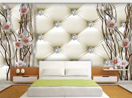 Wohnzimmerpakete online-Benutzerdefinierte Wandbild Tapete 3D Geprägte Diamant Pflaume Zweige Wandmalerei Kunst Weichen Paket Wohnzimmer TV Hintergrund Wohnkultur Papier