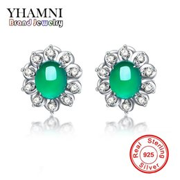 Wholesale Malay Jade Earring - YHAMNI Original 925 Sterling Silver Pure Natural Green Gem Malay Stone Earrings Women Fashion Jewelry E323