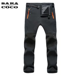 Wholesale Shell Trousers - Wholesale-Water-Proof Breathable Hiking Pants Quick Drying Fishing Camping Pants for Men Outer Soft Shell Fleece Hiking Trousers Male
