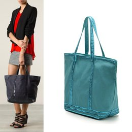 Wholesale large shopper - AB961 VIDEO Casual Rustic classic patchwork Bicolor Large size bling Sequined canvas shopper Tote Bag Handbag free shipping sale