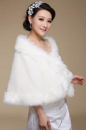 Wholesale Wedding Shawls Boleros Shrugs - High Quality Plus Size Bridal Faux Fur Cape Wrap Shrug Stole Wedding Princess Shawl Fox Tail