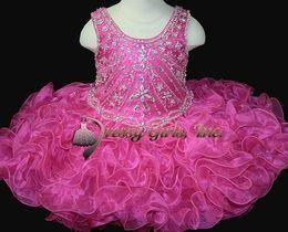 Bambino caldo di vestito da partito di colore rosa online-Nuovi vestiti 2016 del Pageant della ragazza Fair Hot Pink cinghie Mini Cupcake Abiti Crystal Paillettes Ruffle Birthday Party Toddler Dresses