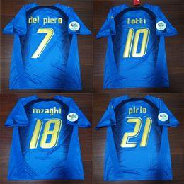 Wholesale italy soccer jerseys - 2006 Italy Retro Soccer Jersey Cannavaro Grosso Totti Del Piero Nesta Inzaghi Pirlo Materazzi Gattuso 06 Italia Vintage Football Shirts