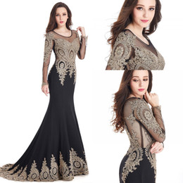 Wholesale Cheap Elegant Red Club Dresses - Elegant Formal Mermaid Long Sleeve Dresses Evening Wear 2017 Cheap Sheer Scoop Neck Lace Appliques Black Prom Special Occasion Gowns