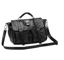 Wholesale Skull Design Bags - Only 1 color Unique Design Fashion Casual OL Office Bag All-match Big Women's Cool Handbag Fashion Punk Skull Rivet Bags H080-4