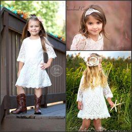 Wholesale Orange Toddler Skirt - Ivory Toddler Flower Girls Dresses 2016 New Arrival Lace Knee Length Country Princess Formal Dress Jewel Half Sleeves Little Kid Skirts