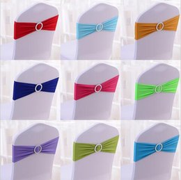 Wholesale Europe Furniture - 100pcs lot Spandex Lycra Wedding Chair Covers Sash Bands Wedding Party Birthday Chair Decoration Wedding Supplies