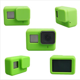 Wholesale Gopro Lenses - Soft Silicone Protective Housing Case + Lens Cap Cover For GoPro HD Hero 5