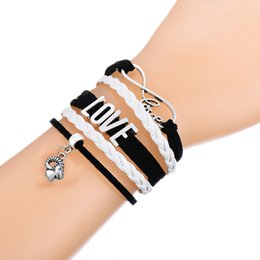 Wholesale Fashion Jewelry Multi Layered Chains - Multi-layered Wrap Bracelets Antique Charms With Sheepshead Bangle Pendant Pink and White Leather Bracelets Fashion Wristbands Jewelry