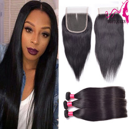 Wholesale machining parts products - Straight Lace Closure Peruvian Human Hair With Full Closure soft Hair Products Middle Free Three part Top Closures With Straight Bundles
