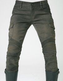 Wholesale Colored Man Jeans - uglyBROS 06 Men and woman motorcycle pants Motorpool stylish riding jeans racing Protective pants of locomotive Black Stain over Olive green