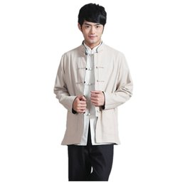 Wholesale Traditional Chinese Shirts Men - Shanghai Story Two Side reversible chinese traditional Two-sided wear mandarin collar Jacket Linen chinese kung fu Shirt men