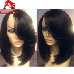 Wholesale Side U Part Wig - Side Part Bangs U Part Human Hair Wigs Virgin Brazilian Bob Yaki U Shaped Wigs Glueless For Black Women None Lace Wigs Whosale