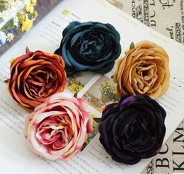 Wholesale Romantic Items - Rose FLower Head Oil Painting Color Dark Autumn Euro Style Romantic Christmas Party Decoration Floar Cloth Shoe Hair Decorative Popular Item
