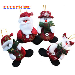 Wholesale Craft Santa - 2017 New Year Wholesale 24pcs  Lot Red Santa Pendant Christmas Tree Hanging Ornaments Crafts For Home Decor Supplies Sd206