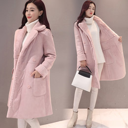 Wholesale Lambs Wool Fur Coat - 2017 Autumn Winter Jacket Women Thick Warm Large Lapel Outwear Parkas Lamb Wool Down Cotton Long Cashmere Coat Women XL