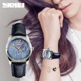 Wholesale China Brand Women Watches - SKMEI 6911 Womens Quartz Watch Women Fashion Leather Clock Top Quality Famous China Brand Waterproof Luxury Military Vine