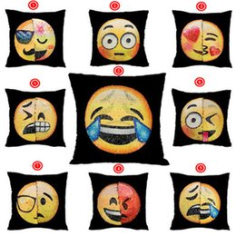 Wholesale Face Pillows - Sequins Pillow Case Emoji Mermaid Cushion Gradient Color Change Face Double Color Pillow Cover Soft Car Sofa Ornament Bright Covers