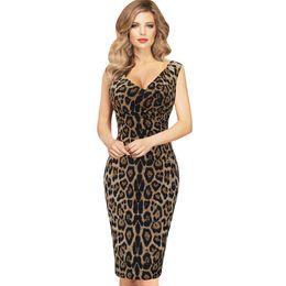 Wholesale 5xl Womens Sexy Dress - Womens Elegant Sexy Hot V Neck Leopard Draped Sleeveless Tunic Casual Party Club Clubwear Pencil Sheath Dress Free Shipping Dropship DK400SJ