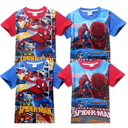 Wholesale Spider Man Clothing Cheap - Cheap price high quality children clothing New 100% cotton T-shirt spider-man printed boys fashion summer tee